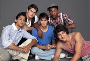 Clockwise: Manish Dayal, Gregg Sulkin, Justin Martin, Tyler Posey and Booboo Stewart (centre) star in Quentin Lee's WHITE FROG.